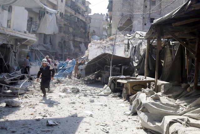 Bombardeos en Alepo