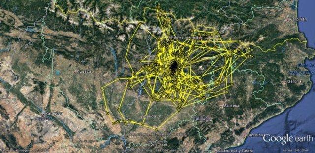 Localizador GPS para seguir los viajes de 'Gaco', un buitre leonado en Cataluña