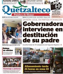 Portada del diario El Quetzalteco