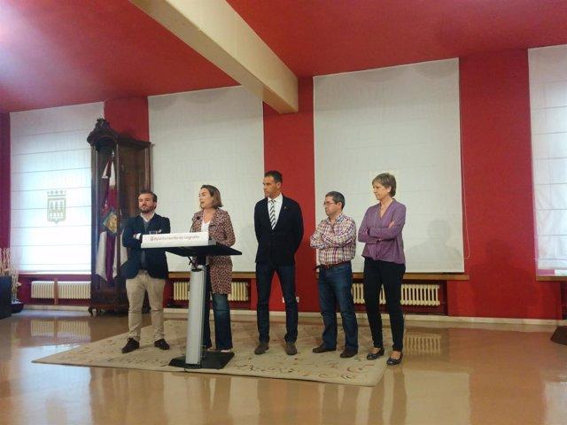 Gamarra, Peiró y los directores de los tres centros, en la presentación