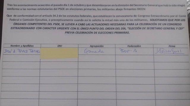 Firma de Pérez Tapias de la propuesta del alcalde de Jun