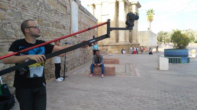 Un momento del rodaje junto al Arco del Triunfo