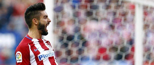 Carrasco celebra uno de sus goles ante el Granada