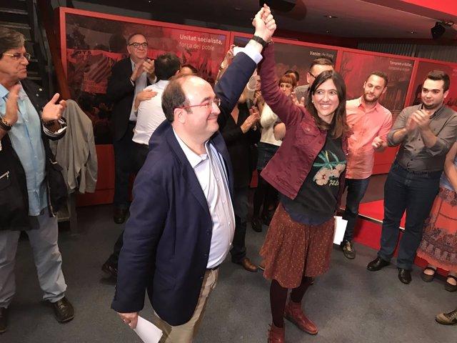 Miquel Iceta y Núria Parlon tras la victoria de Iceta en las primarias del PSC