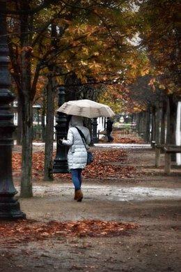 Otoño invierno, frío, paraguas
