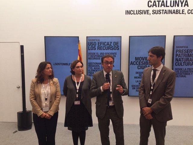 Mercè Conesa, Ada Colau, Josep Rull y Jordi Solé