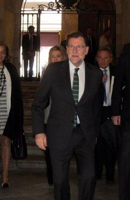 Mariano Rajoy a su llegada a la Universidad de Salamanca