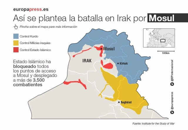 Mapa de combatientes alrededor de la ciudad de Mosul (Irak)