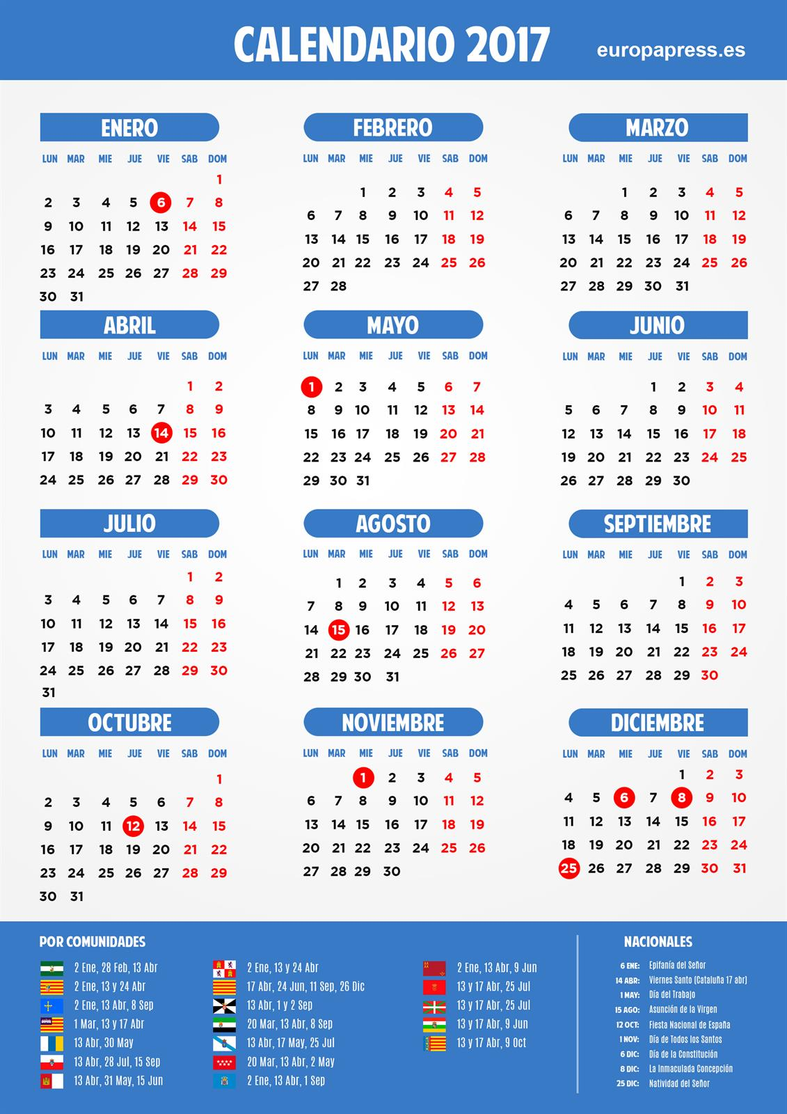 Calendario laboral 2017 puentes y d as festivos for Festivos asturias 2017