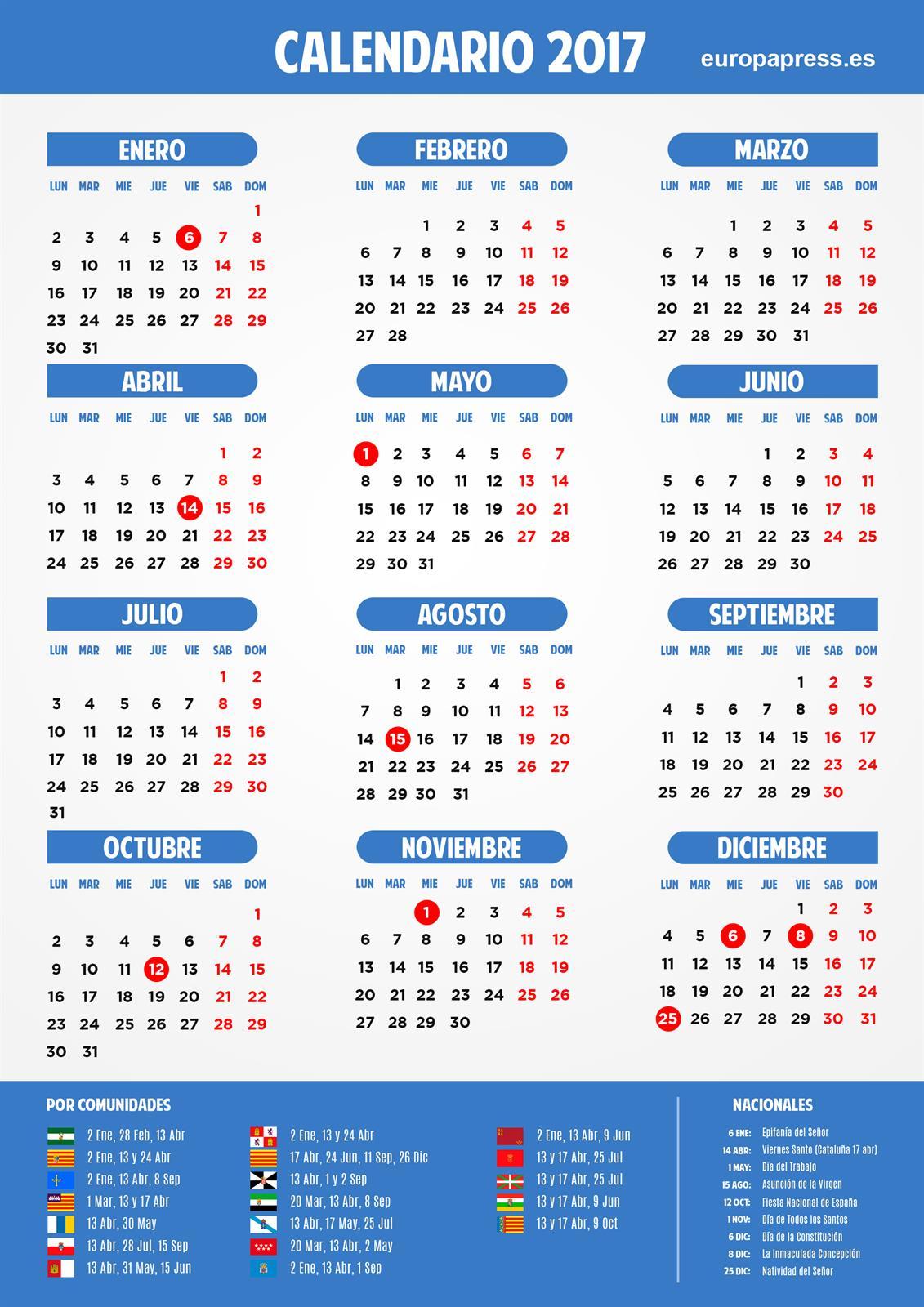 Calendario Laboral De Cataluna.Calendario Laboral 2017 Puentes Y Dias Festivos