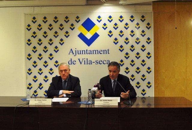 El alcalde de Vila-seca, J.Poblet, y el pte.De la Fund.Gresol J.Mollá