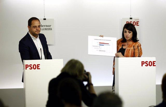 César Luena y Adriana Lastra en la sede del PSOE