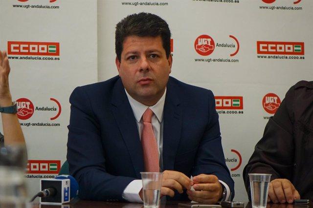 Fabián Picardo, en rueda de prensa en la sede de CCOO Andalucía