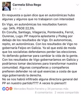Publicación de Carmela Silva (PSdeG) en el Facebook