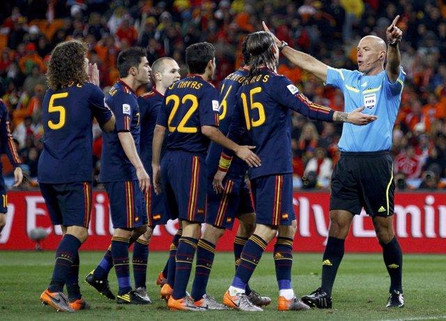El árbitro Howard Webb en la final del Mundial de Sudáfrica