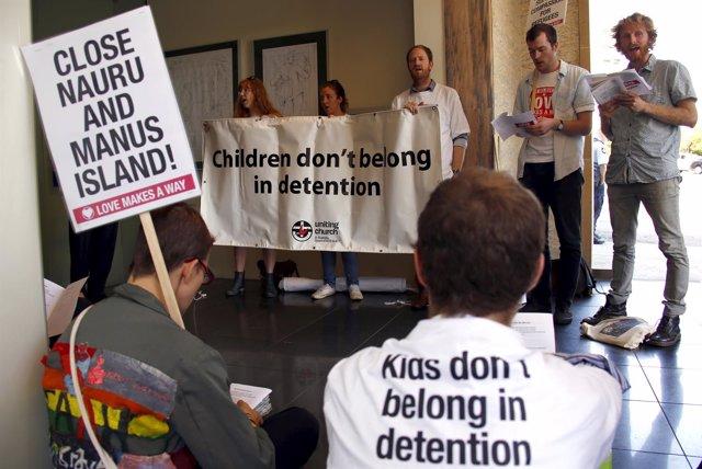 Protesta en octubre de 2015 contra los centros de detención de Nauru y Manus
