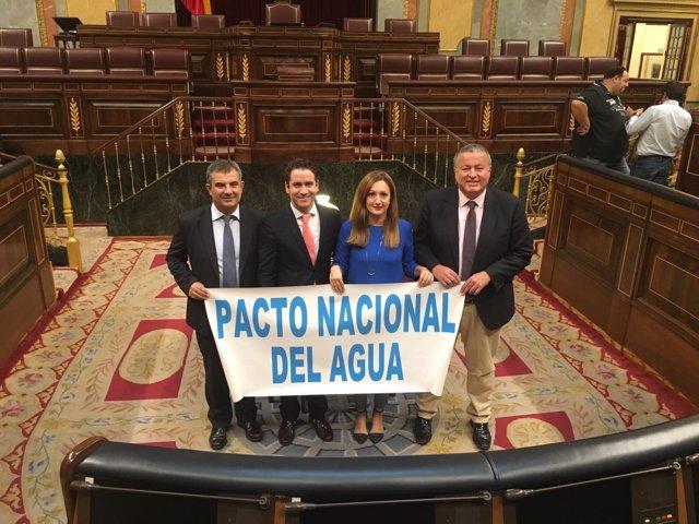 Imagen de los diputados del PP por la Región posando con el cartel