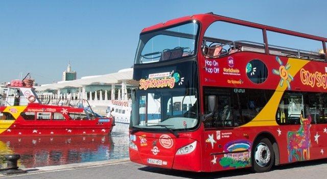 Autobús turístico cuty Sightseeing málaga puerto turistas visita ciudad