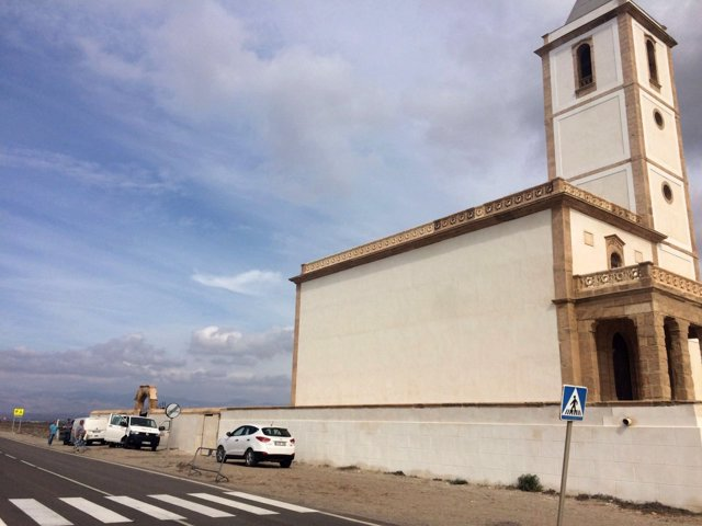 Rodaje de Tatort en la Iglesia de Las Salinas de Cabo de Gata