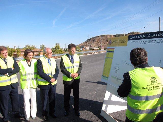 Catalá, con Ceniceros, Gamarra y Bretón visita conexión AP-68 con LO-20 y N-232