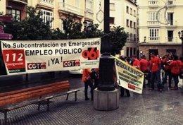 Protesta de servicios de emergencias telefónicos