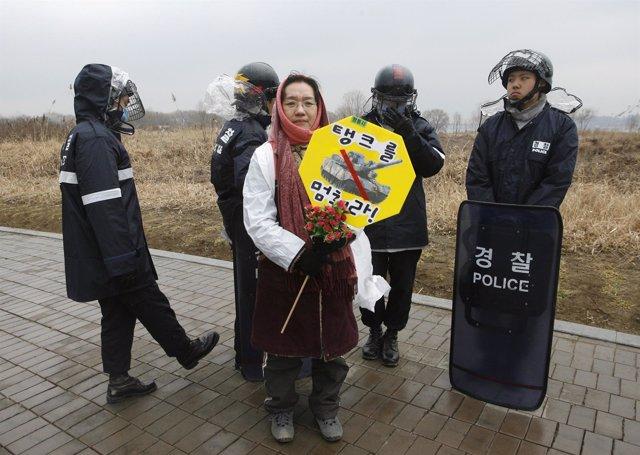 Protesta antimilitarista en Corea del Sur