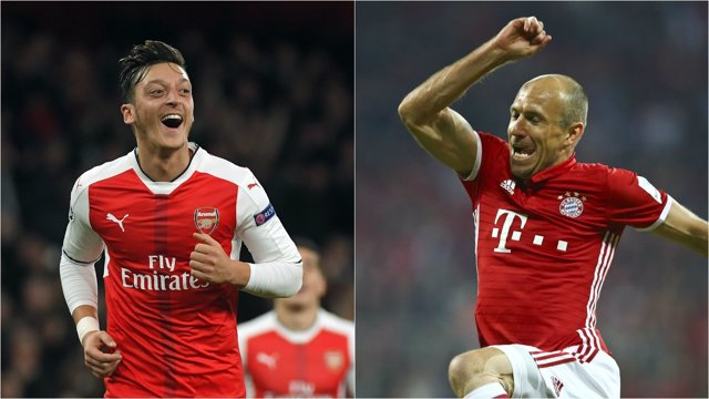 Ozil y Robben celebran su gran jornada europea