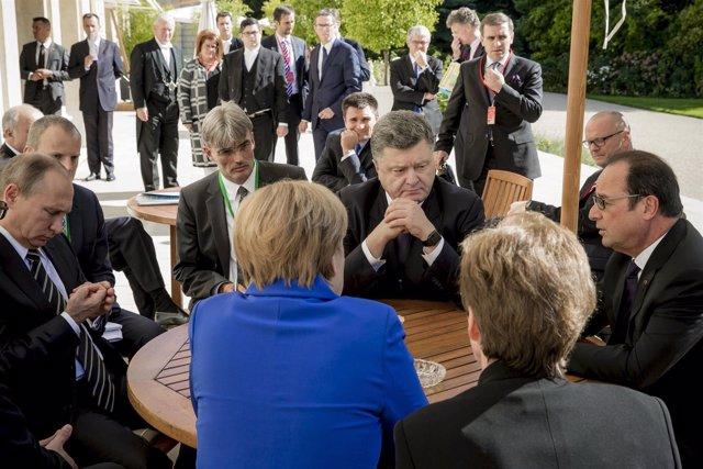 Hollande, Merkel, Putin y Poroshenko