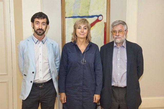 Álvaro Baráibar, la consejera Ollo y Florencio Domínguez (derecha)