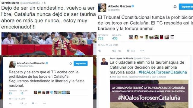 Tuits taurinos antitaurinos decisión TC toros en Cataluña