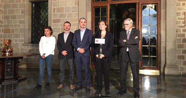 Maria Rovira, Alfred Bosch, Jaume Collboni, Ada Colau y Xavier Trias