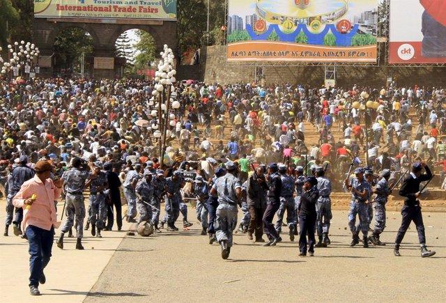 Enfrentamientos durante un mitin en Adis Abeba, Etiopía.