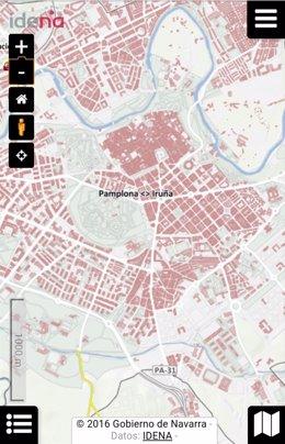 Imagen de la versión móvil del visor de datos geográficos de Navarra
