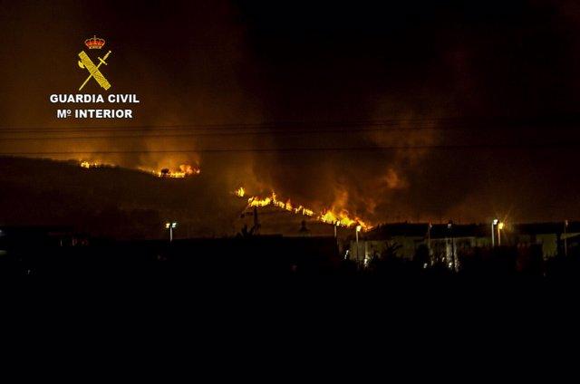 Incendio en las proximidades de Navalmoral en agosto de 2016