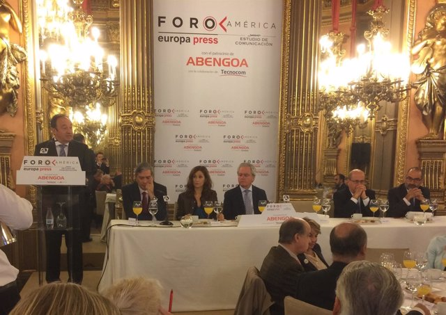 Sanz, durante su intervención en el Foro América de Europa Press