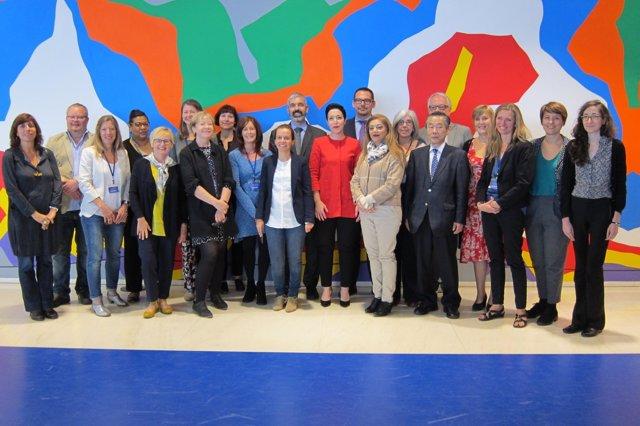 Representantes de los 15 museos participantes en las jornadas.
