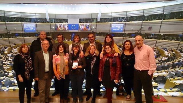 Camareras de piso de Baleares en el Parlamento Europeo