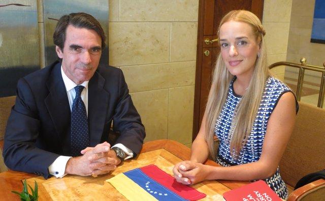 Lilian Tintori se reúne con José María Aznar para que España apoye la liberación