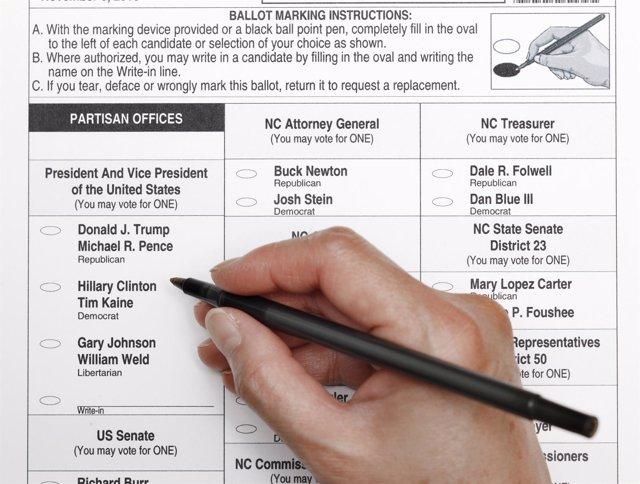 Papeleta de votación elecciones presidenciales de EEUU