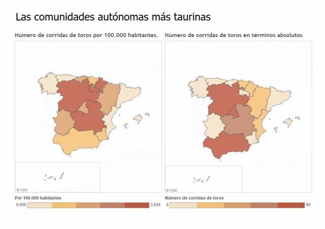 Número de corridas de toros por comunidades autónomas