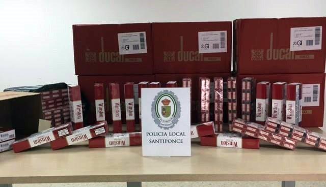 Tabaco intervenido en Santiponce (Sevilla)
