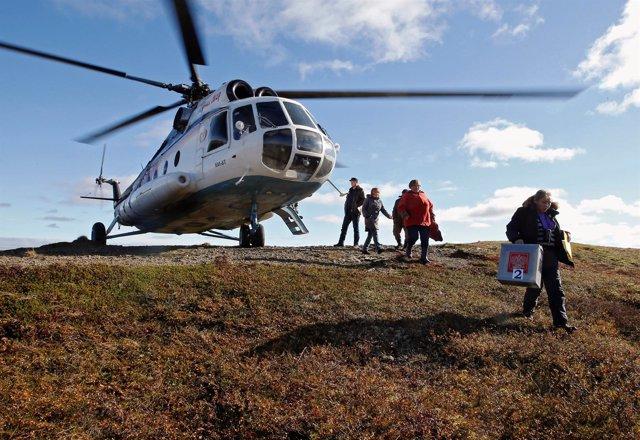Un helicóptero Mi-8 ruso