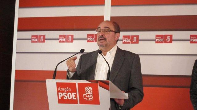 Javier Lambán, en la rueda de prensa