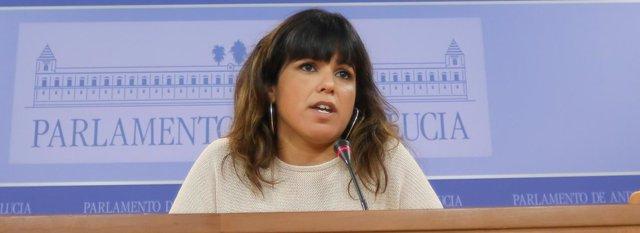 La secretaria general de Podemos Andalucía, Teresa Rodríguez, en rueda de prensa