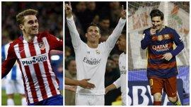 Cristiano, Messi, Griezmann, Suárez, Bale y Neymar, candidatos al Balón de Oro