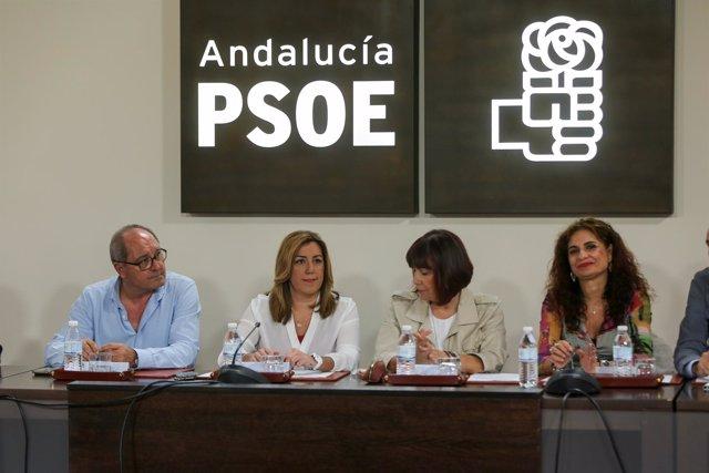 Juan Cornejo, Susana Díaz, Micaela Navarro y María Jesús Montero