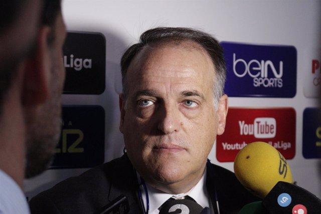 Javier Tebas en la presentación del torneo nacional LaLiga Promises