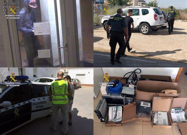 Imagen de los detenidos y del material intervenido