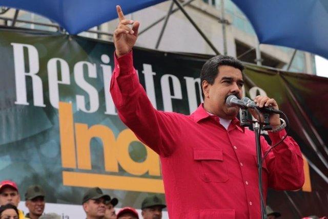 Nicolás Maduro durante el Día de la Resistencia Indígena