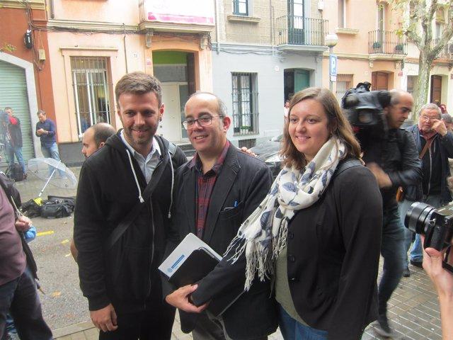 Los concejales de Badalona Oriol Lladó, José Téllez y Agnès Rotger